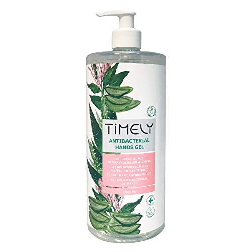 Timely - Gel de manos antibacteriano con aloe, tamaño de viaje, 1000 ml