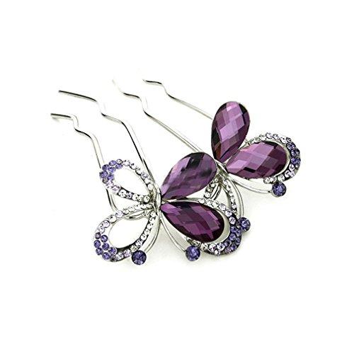 YAZILIND Elegante Joyas de Estilo Mariposa de Novia de Accesorios de Pelo de Cristal de Diamantes de Imitacion Brillo de Pelo broches de Pelo broches para Las Mujeres Ninas Tocado (Purpura)