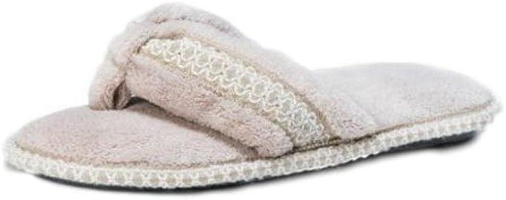 MUK LUKS Womens Darlene Micro Chenille Thong Slippers