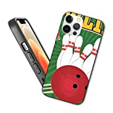Compatible con iPhone 12 Pro Max Case Bowling Retro Poster Design Template on Green Background Vector Ilustración Cover Protective Shockproof with Soft TPU Bumper and Hard PC Back (6.7 inch)