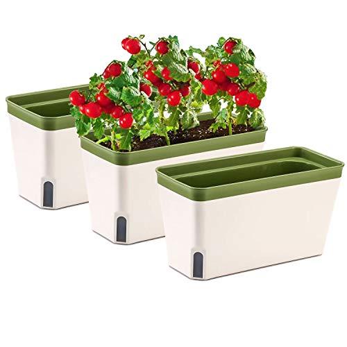 27cm Selbstwässernder Blumenkasten Kräutertopf mit ERD-Bewässerungs-System 3er-Set Kunststoff Blumentopf Pflanzgefäß Rechteck für Küche Balkon Fensterbank