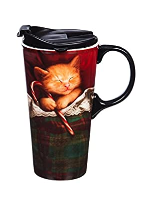 Kitten With Candy Cane Lidded To Go Cup