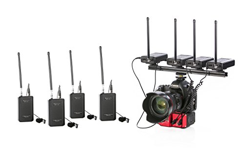 Saramonic Quad Wireless VHF Lavalier Microphone Bundle with 4 Transmitters, 4 Receivers, Premium Audio Mixer, and Shoe Mounting Bracket for DSLR Cameras