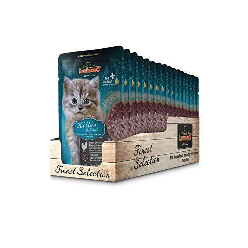 Leonardo Frischebeutel [16x85g Kitten Geflügel] | Getreidefreies Nassfutter für Katzen | Feuchtfutter Alleinfutter im Einzelportionsbeutel