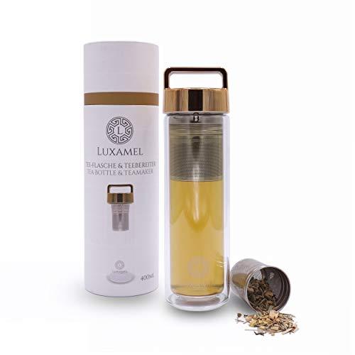 Botella de Té Tetera de Vidrio Tetera para llevar Tetera de vidrio de doble pared con colador Botella de Té 2 Go Design Detox Bpa-free by Luxamel (Gold)