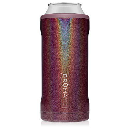 BrüMate Hopsulator Juggernaut Double-walled Stainless Steel Insulated Can Cooler For 24 Oz And 25 Oz Cans… (Glitter Merlot)