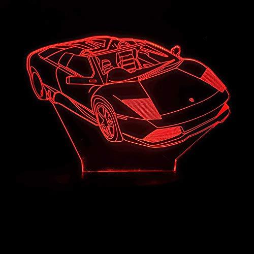 3D Illusion Night Light bluetooth Smart Control 7&16M Color Aplicación móvil Visión Led Baby Sleeping Deluxe Sport Auto Racing Gradient Mesa para niños Baby Sleeping Children's Sleep