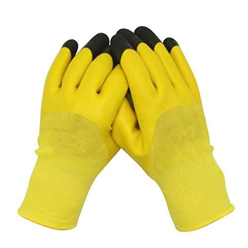 BBRR - Guantes de trabajo con revestimiento de poliuretano, antideslizantes, semicolgantes, ideales para guantes de reparación automática (12 pares)