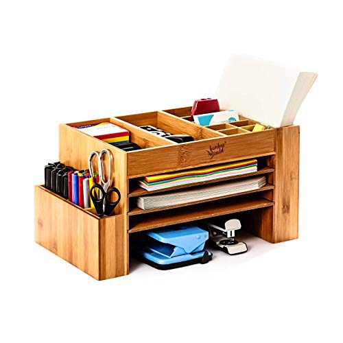 bambuswald© XXL - Schreibtischorganizer aus nachhaltigem Bambus | großes Ablagesystem für den Schreibtisch - Briefablage Dokumentenablage Stiftehalter Aufbewahrung Büro Ordnungssystem Briefablage