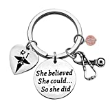 TIIMG Respiratory Therapist Gift RT Student Gift RT Graduation Gift She Believed She Could So She Did RT Caduceus Keychain Radiology Technologist Gift