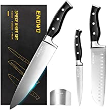 Enowo Chef Knife Ultra Sharp Kitchen Knife Set 3 PCS,Premium German Stainless Steel Knife with Finger Guard Clad Dimple,Ergonomic Handle and Gift Box