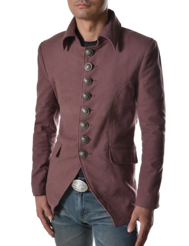 TheLees 737 Mens Luxury Unique Style Slim fit 8 Button Front Blazer Jacket Wine US XS(Tag Size M)