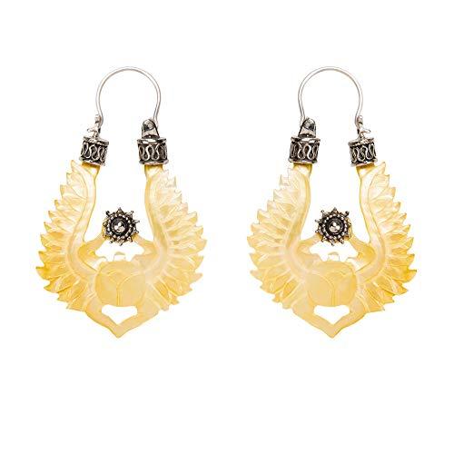 81stgeneration Frauen .925 Sterling Silber Perlmutt Skarabäus Flügel Ägyptische Ohrringe