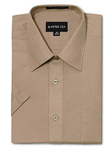 G-Style USA Herrenhemd, normale Passform, kurzärmelig, einfarbig. - Braun - Small/36 cm/ 37 cm Hals