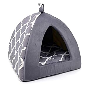 Best Pet Supplies Pet Tent-Soft Bed for Dog and Cat Gray Lattice, 16″ x 16″ x H:14″