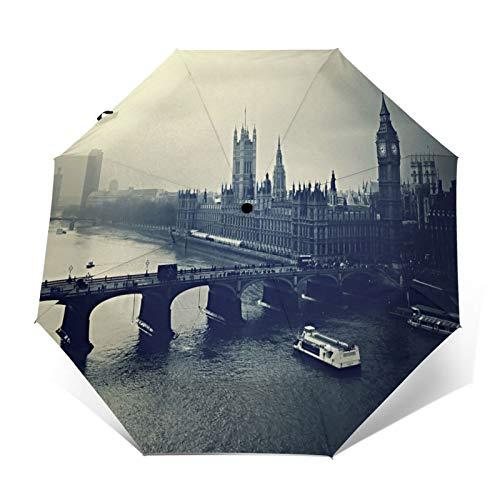 SUHETI Paraguas automático de Apertura/Cierre,Londres Big Ben Noche Edificio Río Vista Superior Blanco Negro,Paraguas pequeño Plegable a Prueba de Viento