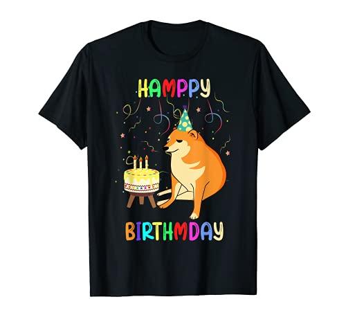 Cheems Happy Birthday Meme Funny Party Dog Confetti Cake T-Shirt