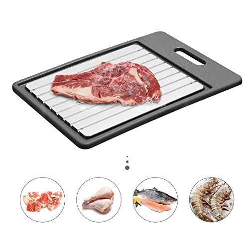 GEMITTO Auftau-Tablett, Auftauplatte für schnelleres Auftauen von gefrorenen Lebensmitteln, schnellerer sicherer Weg zum Auftauen von Fleisch 34x24x1.3cm