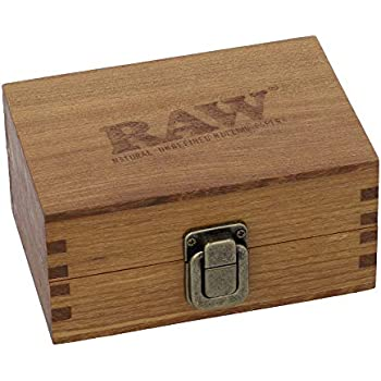 Stash Box RAW Classic Wooden Box | MagneticTop Lid | Compact Size Secure Metal Latch Dimensions 5'' x 3.7'' x 2.4''