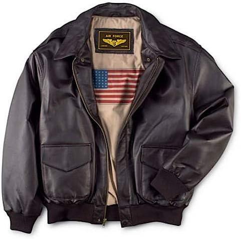 Men's Vintage Jackets & Coats Landing Leathers Men Air Force A-2 Leather Flight Bomber Jacket (Regular and Big & Tall)  AT vintagedancer.com