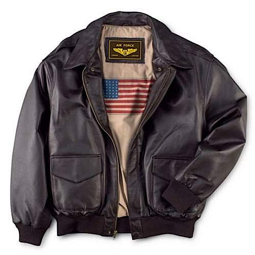 Landing Leathers Men's Air Force A-2 Leather Flight Bomber Jacket Brown Medium