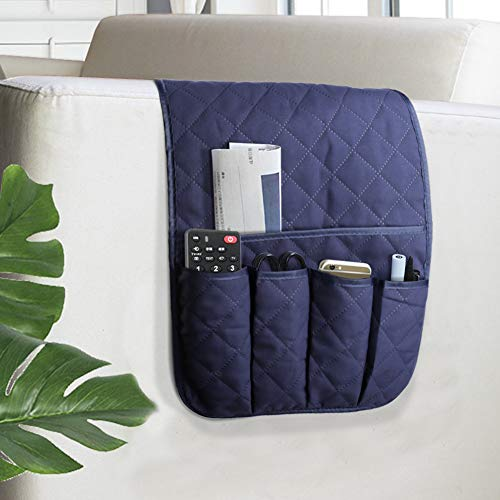 VNOM Sofa Armrest Organizer Non-Slip Arm Chair Bedside Caddy Storage Organizer for Recliner Couch with 5 Pockets for Cell Phone TV Remote Control Magazines(Blue)