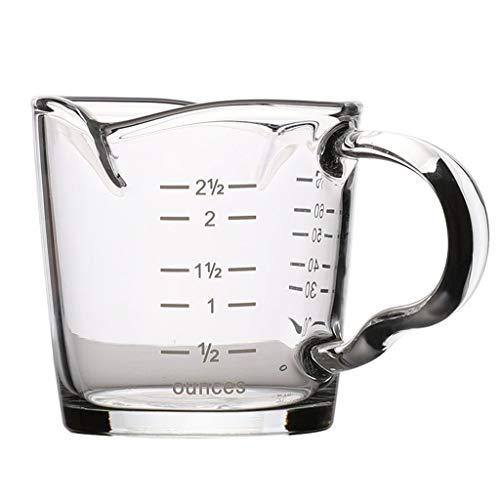 YAOLUU Jarritas para Leche/Salsa Jarra Medición de Vidrio Tazas de Leche espumejea Lanzador de café expreso Cappuccino Latte Juguera en la Cocina (70 ml / 2,36 oz) Salsera