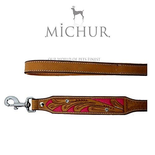 MICHUR Pinklady Leine Hundeleine Leder, Flachleine, Lederleine Hund, PASSEND ZUM Halsband Pinklady Beige, Pink, Leder Gr. (ca.) 120x2,5cm
