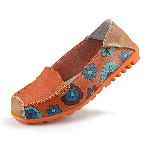 Ablanczoom Womens Comfortable Leather Floral Print Flats Casual Driving Loafers Walking Shoes for Women Orange
