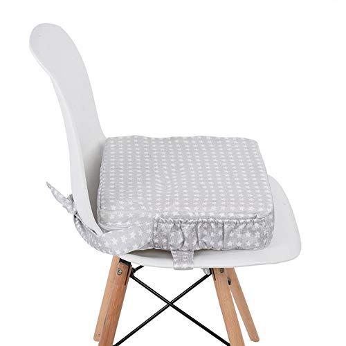 32CM*32CM*8 Baby Esszimmerstuhl Booster Kissen,Sitzerhöhung Stuhl für Baby und Kleinkind,verstellbar, waschbar (Silber)
