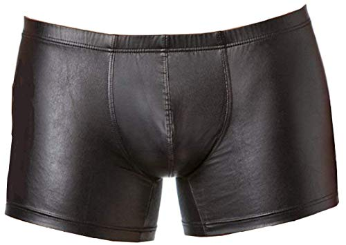 Verano Latex ähnliche Herren Shorts - Vinyl Wetlook Shorts, XL, Schwarz