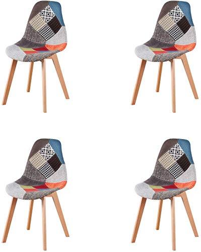 n/c Set di 4 sedie da Pranzo Moderne Patchwork con Gambe in Legno Sedie Imbottite in Tessuto per Sala da Pranzo Soggiorno Cucina e Ufficio (Rosso)