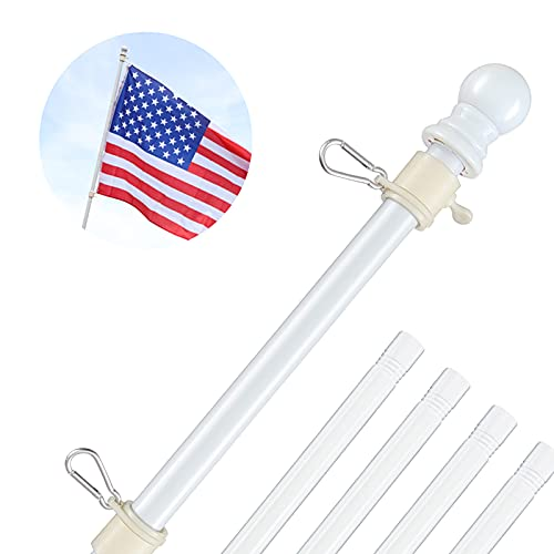 White Flag Pole for House - 5ft Tangle Free Flag Pole Kit for Outside - 1 Inch Stainless Steel Sturdy for Porch, Yard, Boat, Truck