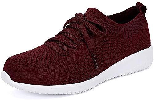 Hojert-004, Zapatos para Correr para Mujer, Zapatos cómodos para Caminar Ligeros de Malla Informal, Zapatos para Correr (Rojo/Blanco / 004-7, Numeric_39_Point_5)