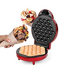 The American Originals Bubble Waffle Maker has 1000 W power, rapid heat-up time and will bake tasty waffles to perfection in minutes. Wonderfully safe and easy to use, it has cool touch handles, a sleek Bakelite exterior, as well as power and ready i...