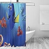 Findet Nemo Duschvorhang-Set, Badezimmer-Dekor mit Haken, wasserdicht, waschbar, 167,6 x 182,9 cm