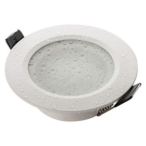 SEBSON Einbaustrahler Bad IP44 Alu weiß, Einbaurahmen Lochdurchmesser 70mm, Unterputz Decken Spot rund inkl. GU10 Fassung für LED/Halogen