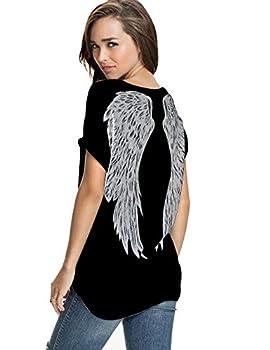 FV RELAY Womens Summer Fashion Angel Wing Loose Tops Short Sleeve T-Shirt Tee  XL Black Angel