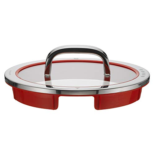 WMF Function 4 Topfdeckel 20 cm, Glasdeckel mit 4 Abgießfunktionen, Glas, Silikon, Cromargan Edelstahl poliert, rot
