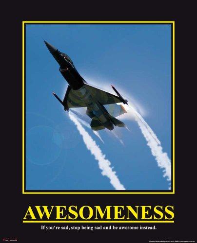 empireposter Motivational - Awesomeness - Jet Düsenjäger Flugzeug Mini Poster - Grösse 40x50 cm