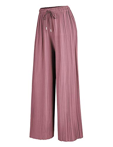 Made By Johnny MBJ WB1484 Womens Pleated Wide Leg Palazzo Pants with Drawstring OneSize Mauve