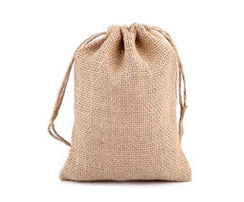 10er Natürlichen Sackleinen-Jute-Tragetasche 14x18cm, Und Nachahmung Taschen, Geschenk, Handwerk & Hobbies