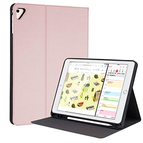 YMXuan Case for iPad 2018(6th,Gen)/2017(5th,Gen)/iPad Pro 9.7/iPad Air 2&1 Bulit-in Pencil Holder Full Protection Multi-Angle Viewing Smart Cover with Auto Wake/Sleep Feature (Pink)