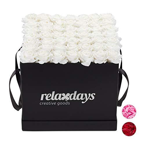 Relaxdays Rosenbox eckig 49 Rosen, stabile Flowerbox schwarz, 10 Jahre haltbar, Geschenkidee, dekorative Blumenbox, weiß