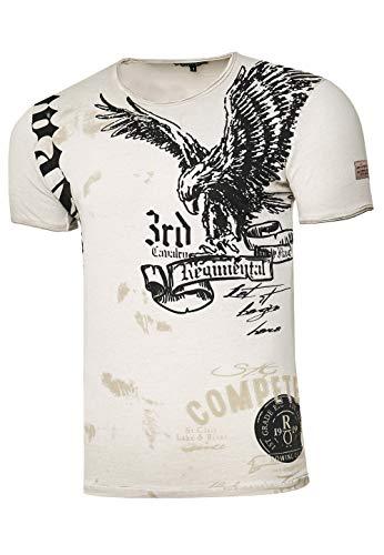 Rusty Neal Herren T-Shirt Rundhals USA Adler Tee Shirt Kurzarm Regular Fit Stretch 100{91a4afdf5597368410d8e91a005d5655ee361a1d4b34e1d305c4df2e2ade3462} Baumwolle S M L XL XXL 3XL 235, Farbe:Beige, Größe:L