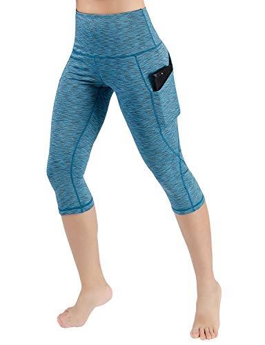 ODODOS Women's High Waist Yoga Capris with Pockets,Tummy Control,Workout Capris Running 4 Way Stretch Yoga Leggings with Pockets,SpaceDyeBlue,Small