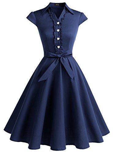 Wedtrend Women's 1950s Cap Sleeves Swing Vintage Party Dresses Multi Colored WTP10007NavyXS