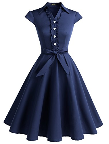 WedTrend Damen 50er Vintage Retro Rockabilly Swing Kleid Kurzer Ärmel Cocktailkleider WTP10007Navy2XL