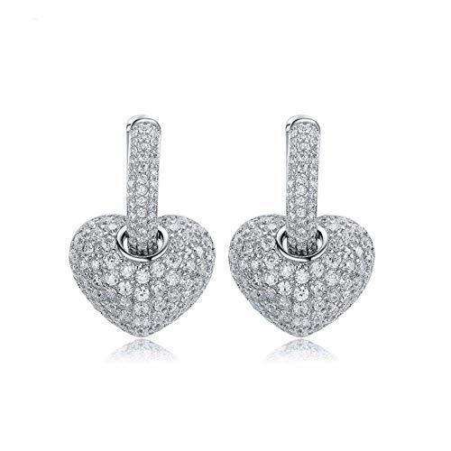 N / A Nigoz - Pendientes de plata con cristales de imitación completos para mujer, de calidad fiable, práctico y rentable