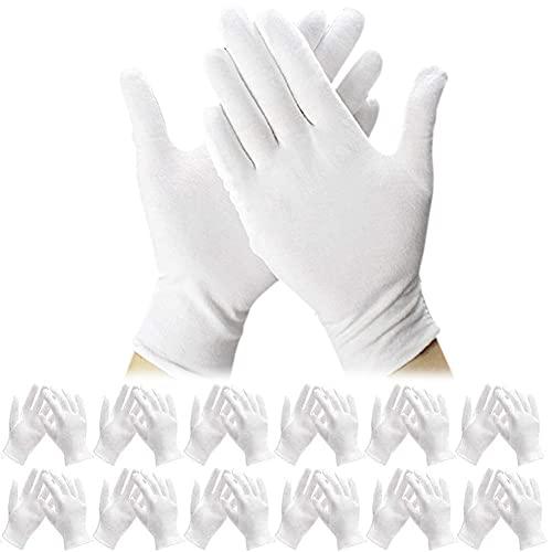 Guanti di Cotone, BETOY 12 paia Guanti in Cotone Sottili, Guanti da Lavoro in Cotone Bianco, Guanti per Monete in Argento, Guanti da Lavoro eElasticizzato per Mani Asciutte ed Eczema